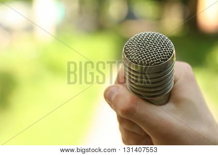 Hand Hold Microphone. Interview In The Park.