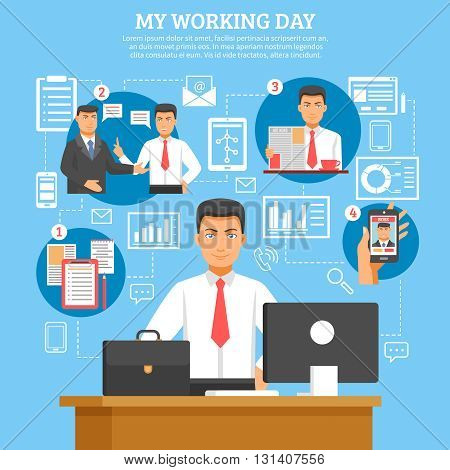 Man daily routine poster with descriptions what businessman doing every day from morning till evening vector illustration