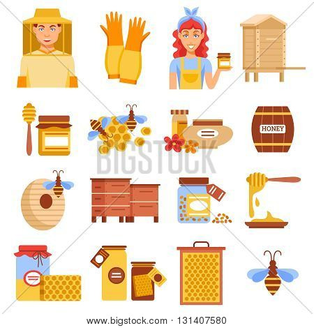 Honey beekeeping icon set with elements of beekeeping means for raising bees and honey vector illustration