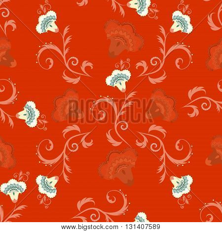 Seamless indian style vector pattern with intricate flowers in red color