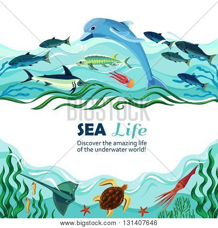 Cartoon vector illustration of sea life with exotic underwater inhabitants and shoal of fishes in marine waves