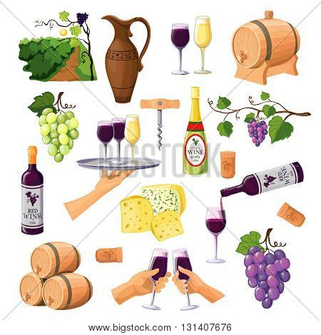 Color wine icons set on white background with glasses and bottles of red and white wine varieties jug and barrels flat vector illustration