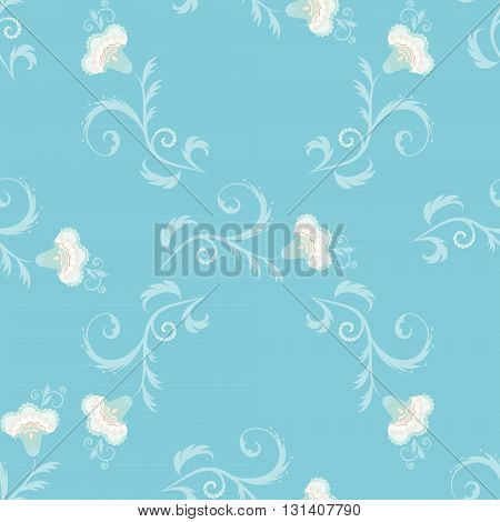 Seamless floral vector pattern with intricate flowers in blue color