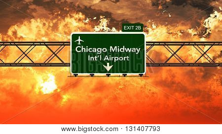 Passing Under Chicago Midway Usa Airport Highway Sign In A Beautiful Cloudy Sunset