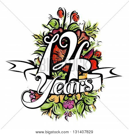 14 Years Greeting Card Design