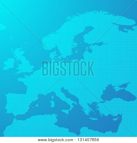 Blue map of Europe in the dots. Europe map vector illustration. Europe map on blue background. Europe map wallpaper.