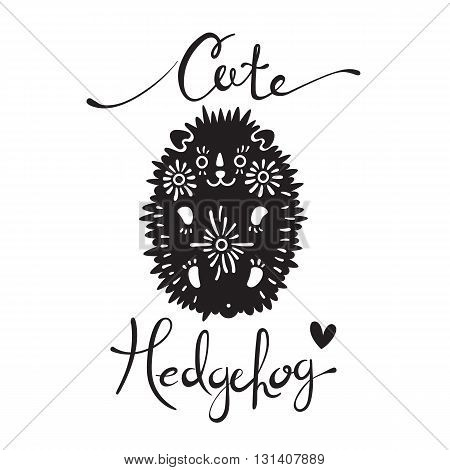 Vector illustration of cute hedgehog with flowers. Element for design and t-shirt print.