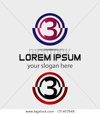 Number three logo.Logo 3 vector template abstract