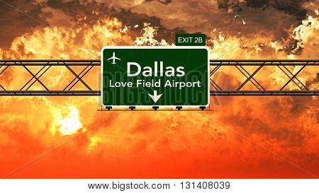 Passing Under Dallas Love Field Usa Airport Highway Sign In A Beautiful Cloudy Sunset