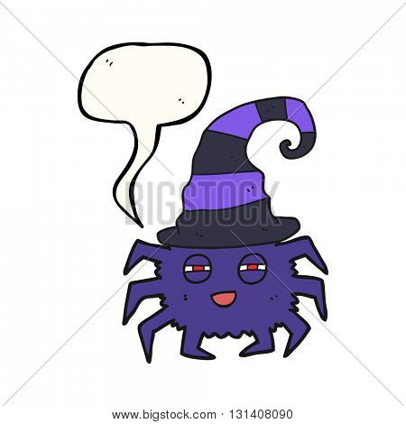 freehand drawn speech bubble cartoon halloween spider