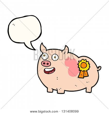 freehand drawn speech bubble cartoon prize winning pig