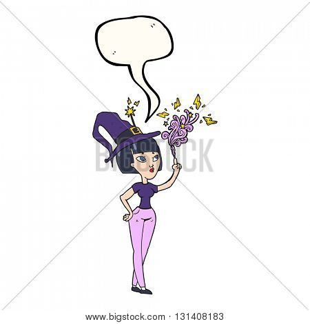 freehand drawn speech bubble cartoon witch casting spell