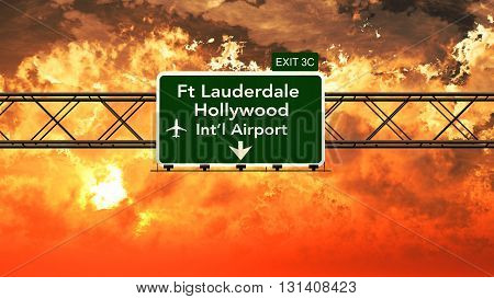 Passing Under Fort Lauderdale Hollywood Usa Airport Highway Sign In A Beautiful Cloudy Sunset