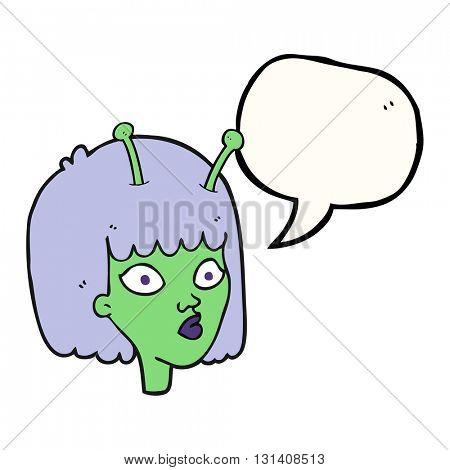 freehand drawn speech bubble cartoon female alien