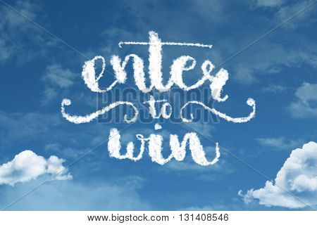 Enter to Win cloud word with a blue sky