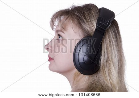 girl  head with earphones Listening to Music Operator of technical support