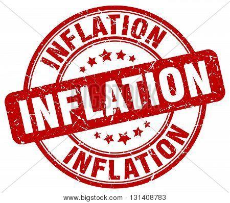 inflation red grunge round vintage rubber stamp