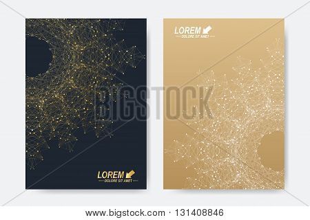 Modern vector template for brochure, Leaflet, flyer, cover, magazine or annual report. A4 size. Business, science, medicine and technology design book layout. Abstract presentation. Round molecule