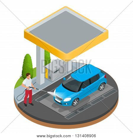 Car wash specialist in uniform washing sedan car under the roof. Spraying water from the hose. Flat 3d vector isometric illustration isolated on white background.