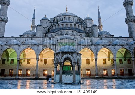 Sultan Ahmed Mosque known as the Blue Mosque at dusk in Istanbul. Turkey