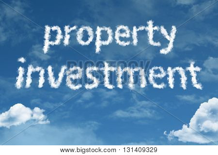 Property Investment cloud word with a blue sky