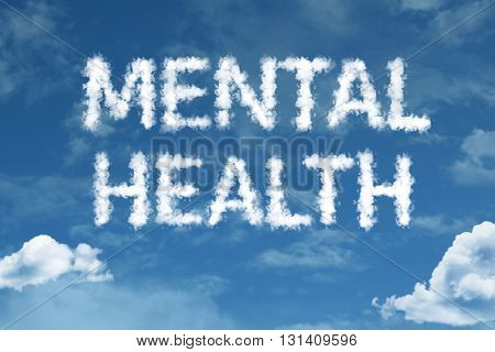 Mental Health cloud word with a blue sky