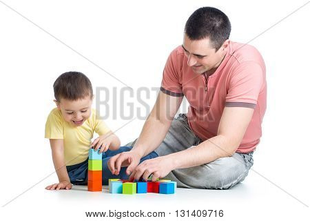 Dad and his son kid playing game together over white background