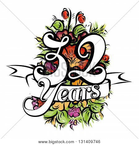 32 Years Greeting Card Design