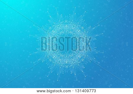 Geometric abstract round form with connected line and dots. Minimalism chaotic background. Linear sign, symbol. Graphic composition for medicine, science, technology, chemistry. Vector illustration.