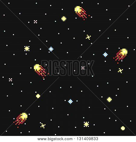 Fantastic starry sky in pixel art style vector seamless pattern. Modern stylish decorative space ornament. Repeating background for textiles wrapping paper or wallpaper.