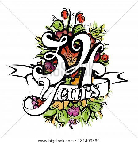 34 Years Greeting Card Design