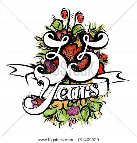 35 Years Greeting Card Design