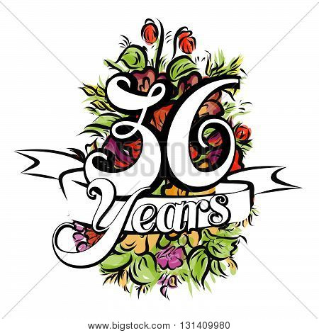 36 Years Greeting Card Design