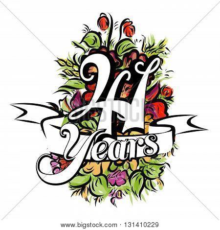 41 Years Greeting Card Design