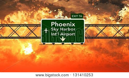 Passing Under Phoenix Sky Harbor Usa Airport Highway Sign In A Beautiful Cloudy Sunset