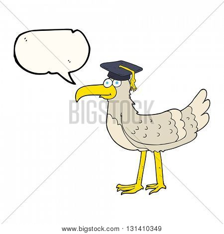 freehand drawn speech bubble cartoon seagull with graduate cap