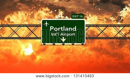 Passing Under Portland Usa Airport Highway Sign In A Beautiful Cloudy Sunset