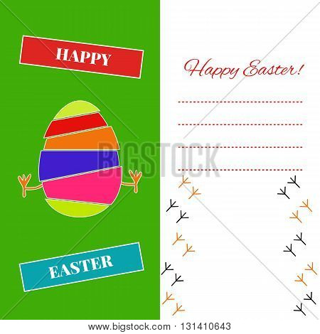 Easter printable card with egg chicken and text