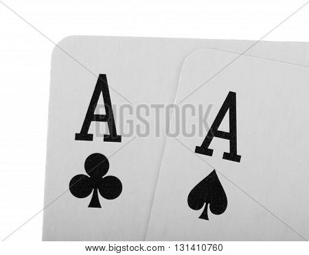 Playing cards poker closeup isolated on white background.