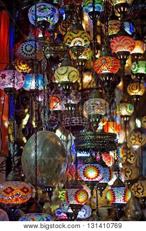 ISTANBUL TURKEY - APR 21 2016:Traditional lamps at the Grand Bazaar in Istanbul Turkey. The Grand Bazaar is one of the largest and oldest covered markets in the world.