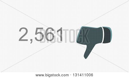 Dislike Thumb Down Counter Online Popularity Concept Illustration