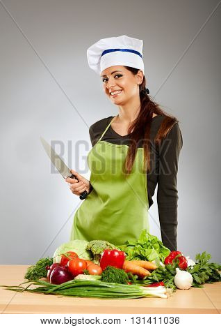 Woman Cook With Vegetables