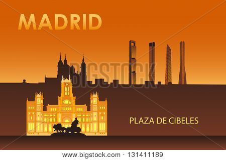 Madrid city landmarks at night vector illustration. Cybele palace.