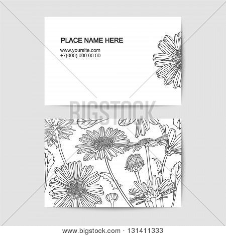 visit card template with chamomile linear flowers