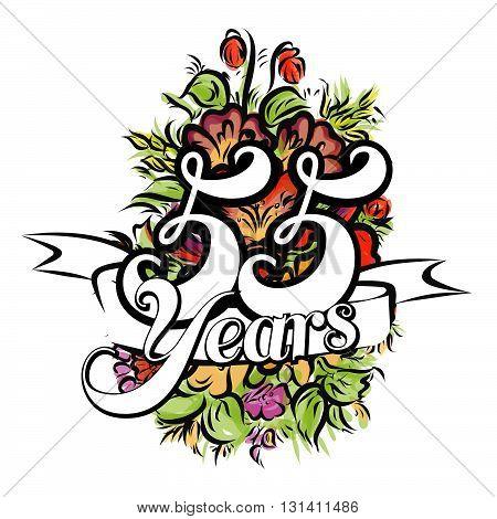 55 Years Greeting Card Design