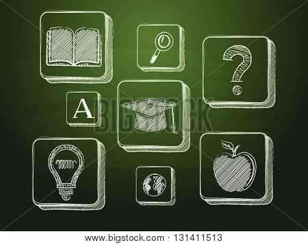 education signs - white chalk symbols over green blackboard, learning concept icons, vector