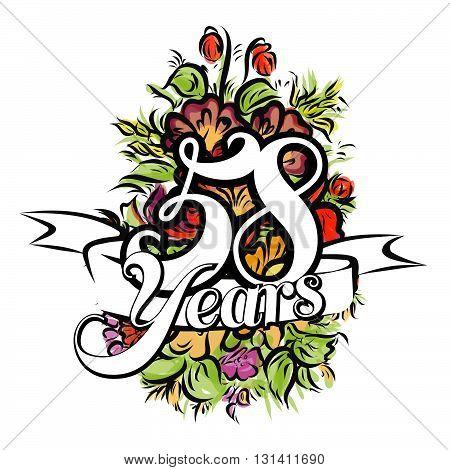 58 Years Greeting Card Design