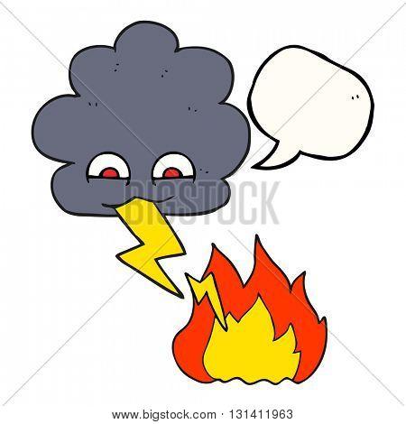 freehand drawn speech bubble cartoon thundercloud lightning strike