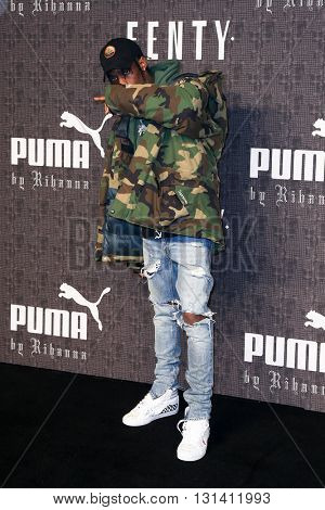 NEW YORK-FEB 12: Travis Scott attends the FENTY PUMA by Rihanna AW16 Collection during Fall 2016 New York Fashion Week at 23 Wall Street on February 12, 2016 in New York City.