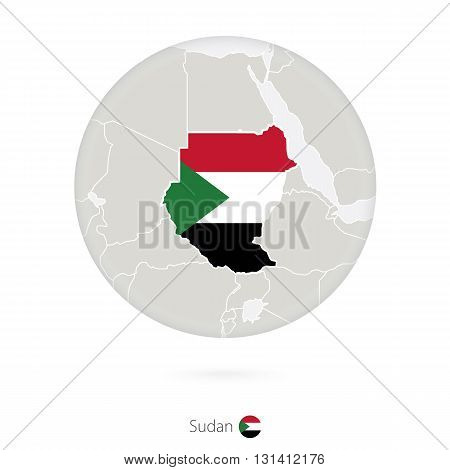 Map Of Sudan And National Flag In A Circle.